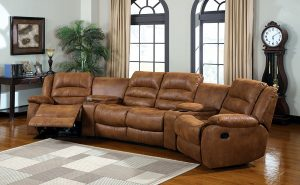 Camden 4-Piece Sectional Sofa with Recliners and Built-In Drink Holders, Caramel