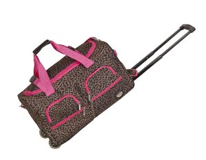 Rockland Luggage Pink Leopard 22-inch
