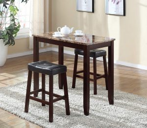 Roundhill-3-Piece Marble Counter Table with Stools