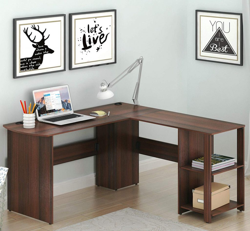 SHW L-Shaped Home Office Wood