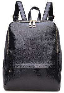 Coolcy Hot Style Genuine Leather Fashion Backpack (Black)