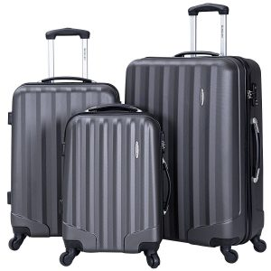Goplus 3 Pcs Luggage Set ABS Hardshell Travel Bag Trolley Suitcase