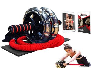 INTENT SPORTS Multi-Functional Ab Wheel Roller KIT with Resistance Bands