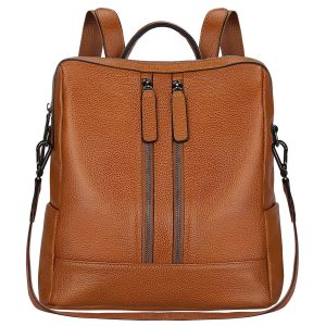 S-ZONE Women Genuine Leather Casual Shoulder Backpack (Brown)