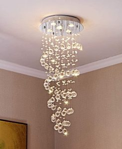 Saint Mossi KY Spiral Crystal Raindrop Chandelier Lighting