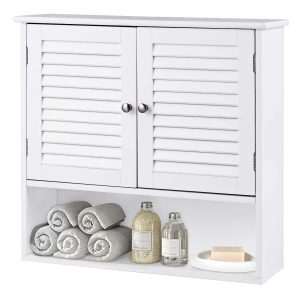Tangkula Wall Cabinet Medicine Cabinet Wood Collection