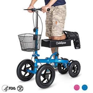 OasisSpace Knee Scooter with 12 inches Air Filled Wheels (Blue)