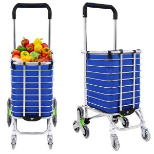 Rateim Stair Shopping Cart, Lightweight Trolley with Green Wheels