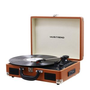 Musitrend Bluetooth USB/SD Recorder Portable Suitcase Turntable, Brown