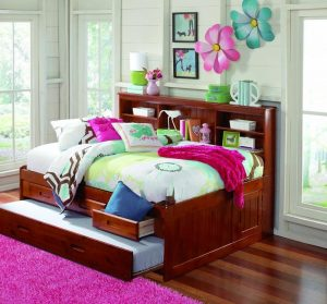 FURNITURE4YOU MERLOT 3 DRAWERS FULL CAPTAIN BOOKCASE DAYBED