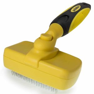 barkOutfitters Slicker Brush - Self-Cleaning Grooming Comb