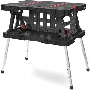 Keter Folding Compact 700 lb Capacity Adjustable Sawhorse Work Table and Workbench