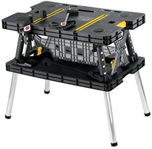 Keter Folding Table Woodworking Tools Work Bench with Clamps