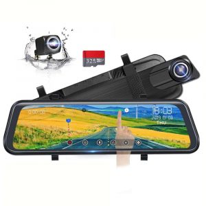 Poaeaon Backup Camera Full Touch Screen 10 inches Mirror Dash Cam