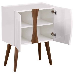Rivet Modern Lacquer & Wood Cabinet, Glossy White