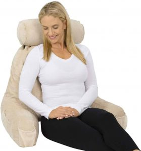 Xtra-Comfort Memory Foam Cushion Reading Pillow with Armrest Pockets