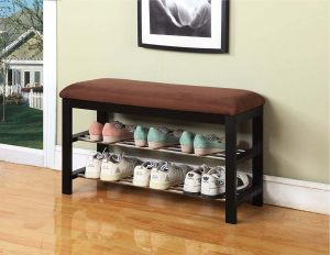 Black:Chocolate Micro Fabric Shoe Rack Storage Organizer & Hallway Bench
