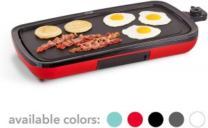 DASH DEG200GBRD01 Nonstick Electric Grill with a Recipe Book, Red