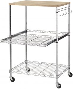 Finnhomy 3-Tier Microwave Stand Wire Rolling Kitchen Cart
