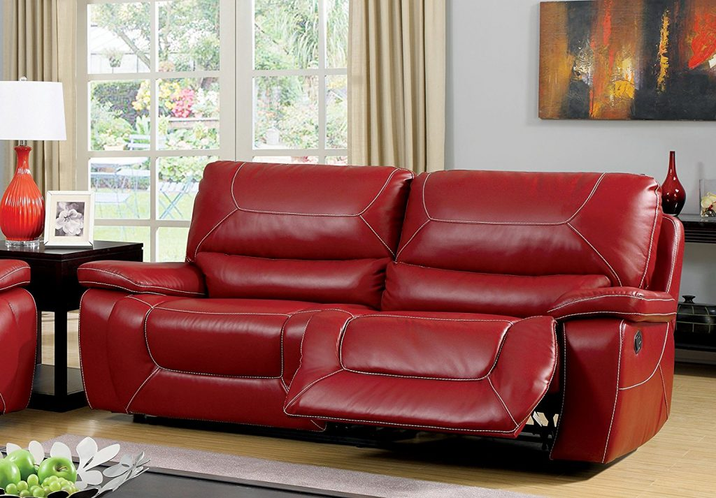 Furniture of America Dunham 2-recliner Red Sofa