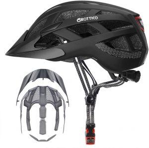 GROTTICO Mountain Bike Helmet with Light, Detachable Visor