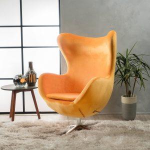 Glendon Arne Jacobsen Style New Velvet Swivel Egg Chair