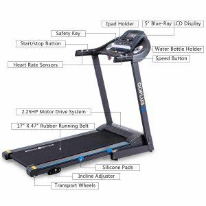 Goplus 2.25HP Folding Electric Treadmill