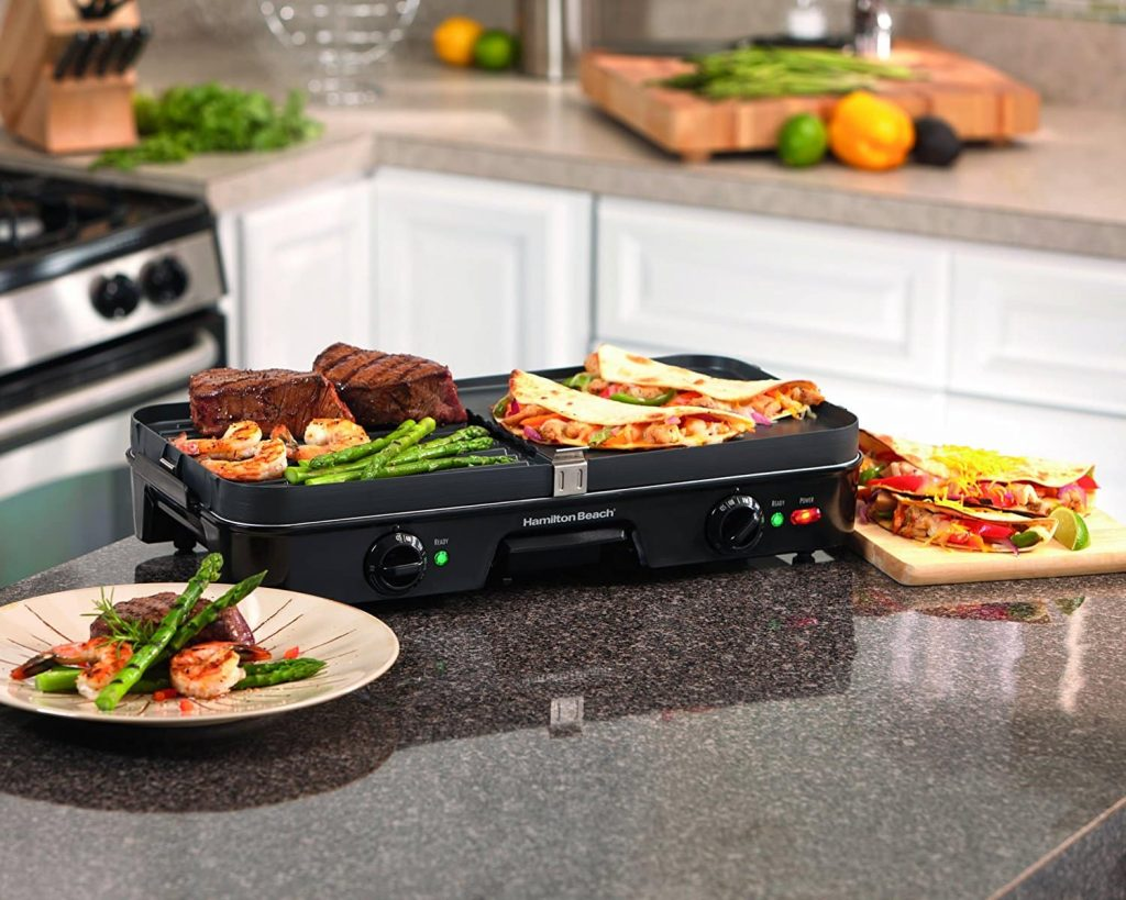 Hamilton Beach 3 in 1 Electric Smokeless Indoor Grill & Griddle Combo