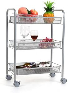 Homfa 3-Tier Multifunction Utility Cart Mesh Wire Rolling Cart