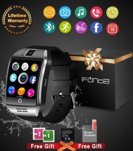 IfundaBluetooth Smart Watch With Camera Waterproof (Black)