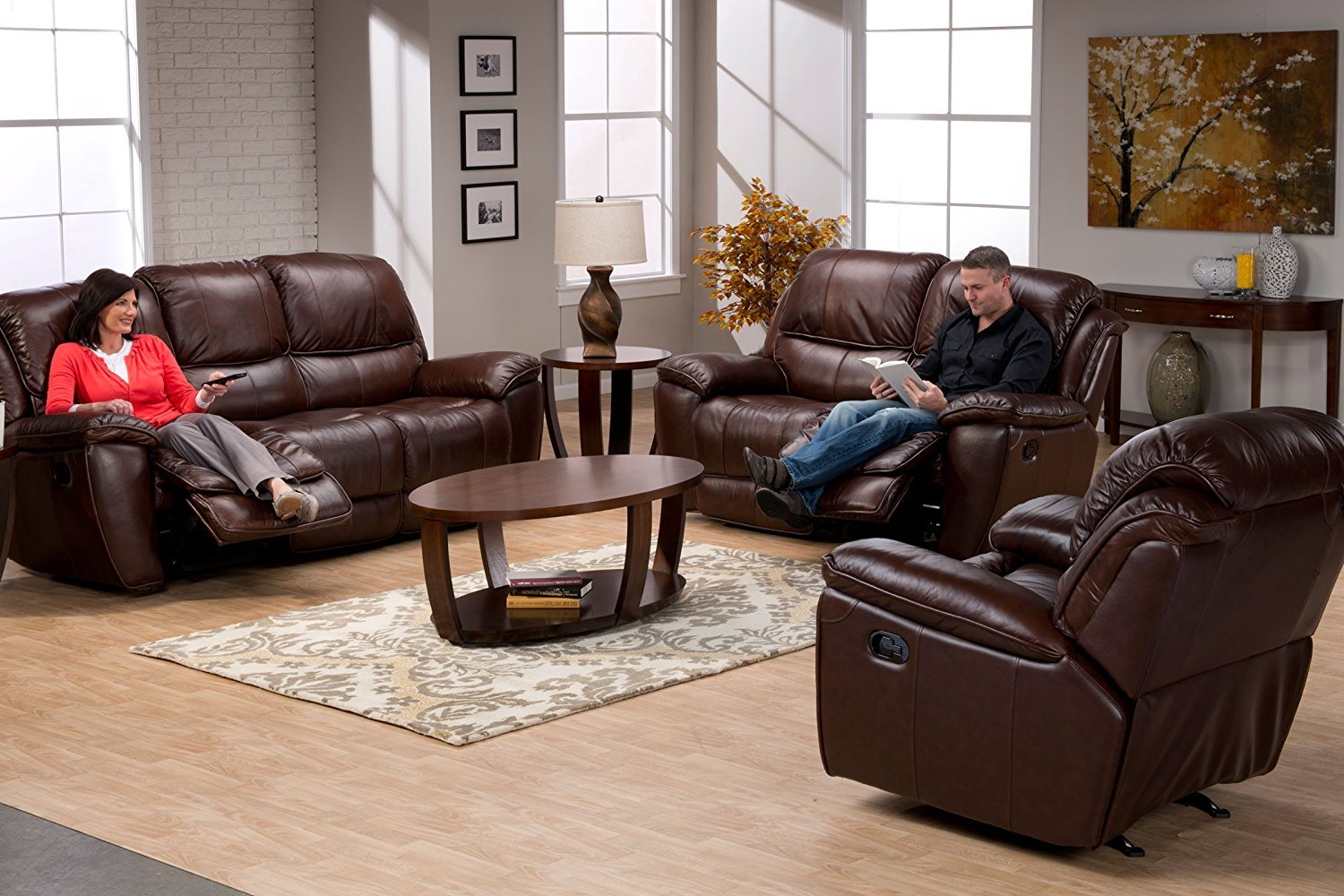 Leather Reclining Sofa