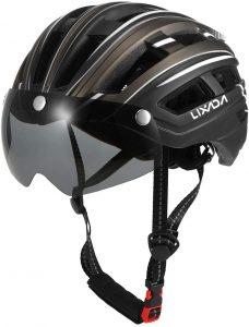 Lixada Adult Mountain Bike Helmet with LED Back Light and Detachable Magnetic Goggles Visor
