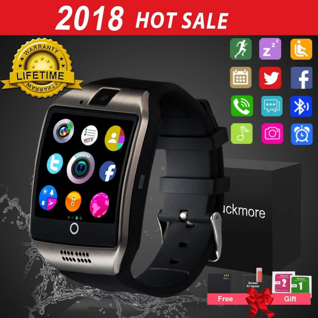 LuckymoreBluetooth Smart Watch Touchscreen with Camera, (Black)