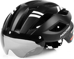 MOKFIRE Mountain Cycling Adult Bike Helmet with Rechargeable USB Light