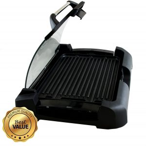 MegaChef Aluminum Indoor Grill with a Removable Glass Lid, Black