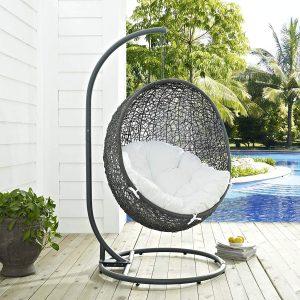 Modway EEI-2273-GRY-WHI Wicker Egg Swing Chair Set