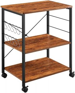 Mr IRONSTONE 3-Tier Kitchen Microwave Cart Kitchen Utility Cart with 10 Hooks