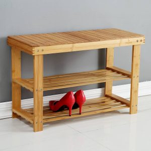 Natural Bamboo Entryway Bench