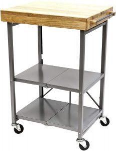 Origami Microwave Cart Folding Kitchen Cart on Wheels Utility Cart