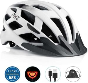 PHZ. Adult Bicycle Helmet Mountain Biking CPSC Certified Helmet with Rechargeable USB Light