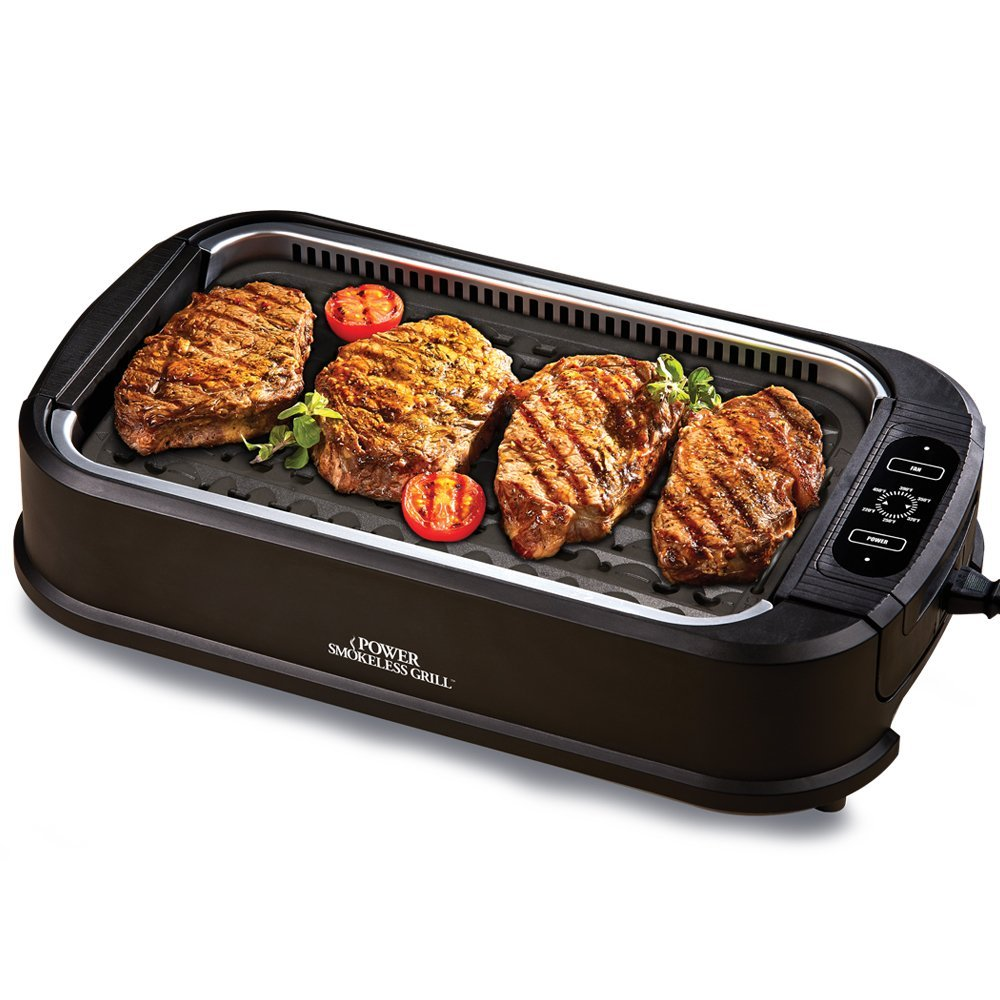 Power Smokeless Grill with Tempered Glass Lid
