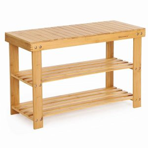 SONGMICS 3-Tier Bamboo Wood Shoe Rack Bench