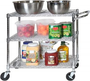 Seville Classics UltraDurable 3-Tier Commercial-Grade Utility Storage Cart, Chrome