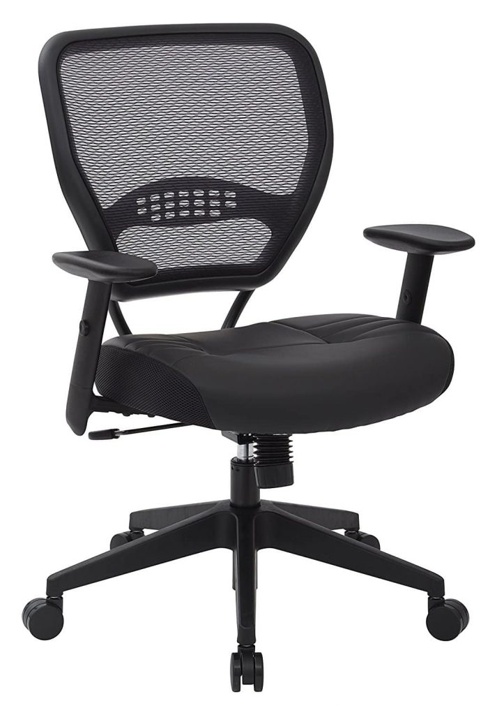 Space siting professional air grid dark back unpadded black eco leather seat