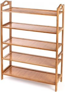 Bamboo Shoe Rack 5-Tier Entryway Shoe Shelf Storage