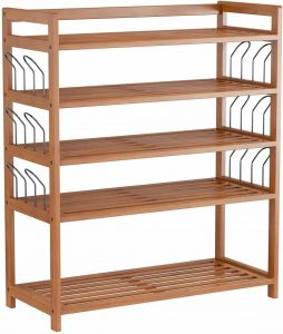 Bamboo Shoe Shelf Storage Organizer 5-Tier with 12 Hanging Bar