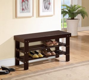 Espresso Finish Solid Wood Storage Shoe Rack
