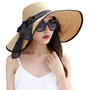 Lanzom Womens Big Bowknot Straw Hat