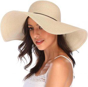 Lanzom Women's Wide Brim Straw Floppy Hat