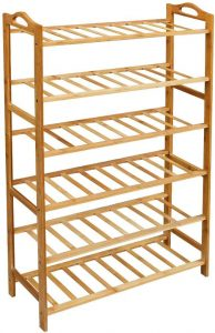 Lovin Product 6 Tiers Natural Bamboo Shoe Rack